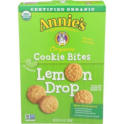 Annies Homegrown Organic Lemon Drop Cookie Bites, 6.5 Ounce -- 12 per case.