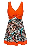 Wantdo Women's One Piece Bikini Swimsuit High Waisted Swimwear LilyOrange US 8-10