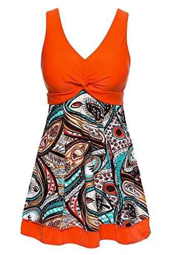 Wantdo Women's Plus Size Swimsuit Cover One Piece Swimwear LilyOrange US 10-12 - Flirty Striped Dress