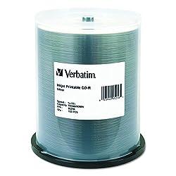 Verbatim Cd-r 700mb 52x Silver Inkjet Printable, 100-disc Spindle 95256