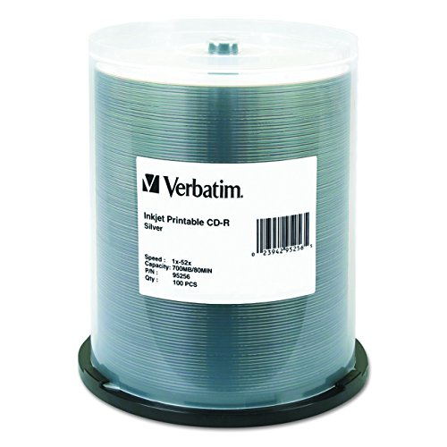 Verbatim CD-R 700MB 52X Silver Inkjet Printable Recordable Media Disc - 100pk Spindle