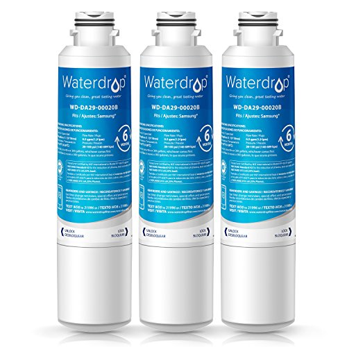 Waterdrop DA29-00020B Refrigerator Water Filter Replacement for Samsung DA29-00020B, DA29-00020A, HAF-CIN/EXP, 46-9101, Standard Series, 3 Pack