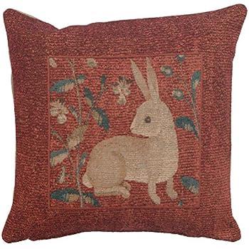 Amazon.com: Woven Tapestry Francés, sentado conejo en rojo ...