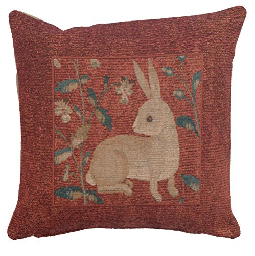 Cheap  Woven French tapestry, Sitting Rabbit in Red. 14 x 14