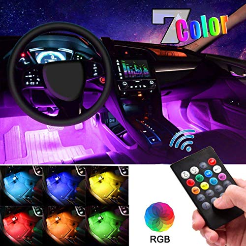 Car LED Strip Light, EJ's SUPER CAR 4pcs 48 LED DC 12V Multicolor Music Car Interior Lights LED Under Dash Lighting Atmosphere Neon Lights Kit with Sound Active Function and Wireless Remote Control…