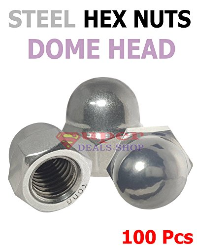 Stainless Steel Dome Cap (100 #M4 x 0.7 Stainless Steel Dome Head Cap Acorn Hex Nut Silver Tone Grade A2 18-8 Super-Deals-Shop)