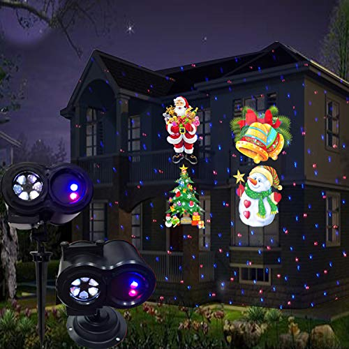 EFGS LED Christmas Light Projector, 3D Remote Control Christmas Projector Waterproof Landscape Light Snowfall Light, Decoration for Christmas Wedding Holiday Party Garden