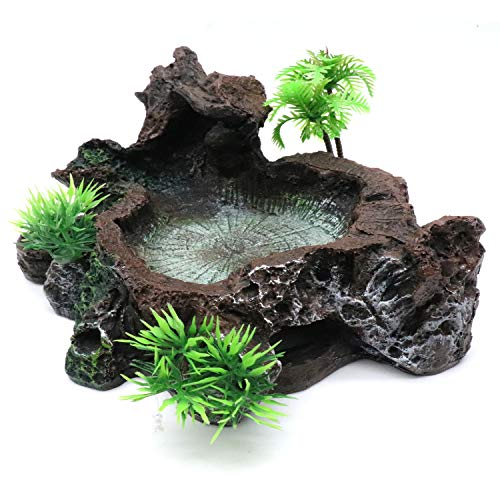 (Yootop Resin Reptile Platform Artificial Tree Trunk Design Food Water Dish)