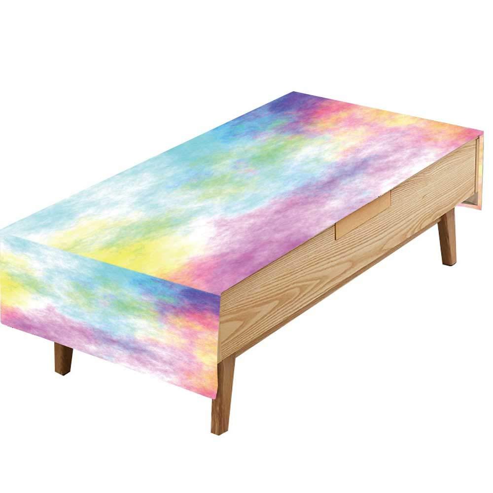 PINAFORE ポリエステル生地 テーブルクロス カラフルな風景 滝 高ダイナミックレンジ ファミリーダイニングテーブル 幅50×長さ80インチ W50