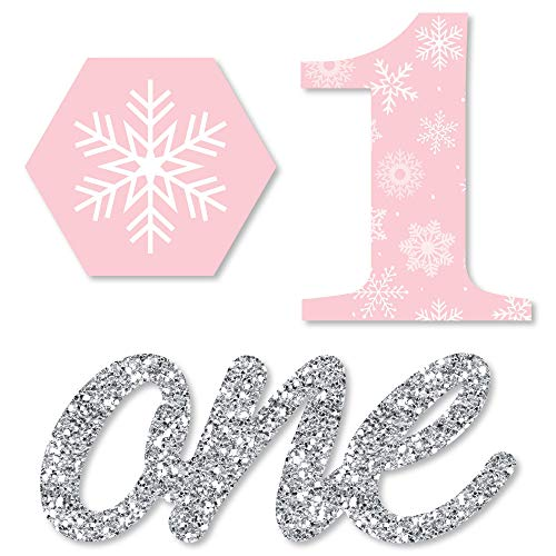 Pink Onederland - Shaped Holiday Snowflake Winter Wonderland Birthday Party Cut-Outs - 24 Count