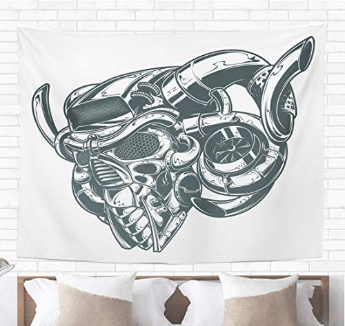 Topyee Home Decorative Tapestry Wall Hanging Skull Metal Turbo Demon Tattoo Devil Engine Punk Monster Dark 60