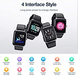 "Muzili Smart Watch IP68 Waterproof Fitness Tracker for Swimming 1.3"" Large Color Full Touch Screen Sport Watch with Heart Rate Monitor Sleep Monitor Pedometer 9 Sports Modes 10 Days Running Time for Boys Men Women Girls"