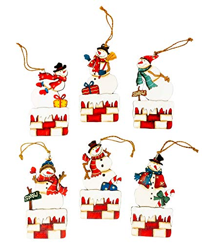 Harbor 55 Christmas Snowman Ornament Decorations Set of 6, Wood, Painted on Chimney, Gift Tags