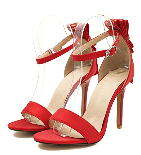 Sandals Shoes Aisun Ankle Strap Chic Bowknot Women's Red qw41F