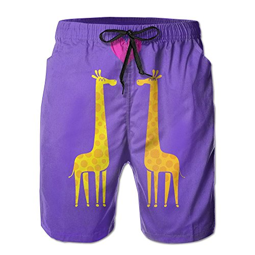 DELIDAA Cartoon Giraffe Couple Men's Boy's Casual Quick-Drying Beach Pant Swim Board ShortsMedium by DELIDAA