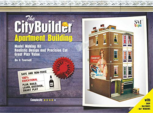 The CityBuilder Apartment Building Cardboard Model Making Kit - O Scale Model Railroad Building