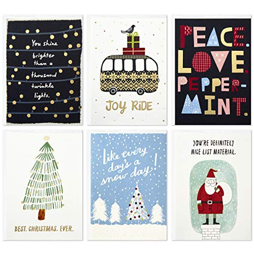 Hallmark Studio Ink Christmas Cards Assortment, Holiday Classics (6 Cards with Envelopes)