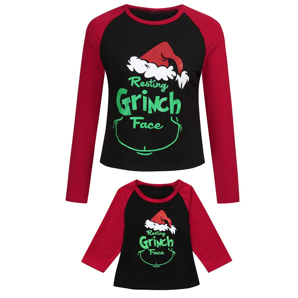 Sikye Mom Daughter Family Christmas Matching Clothes Cartoon Letter Splicing T-Shirt Tops Tee