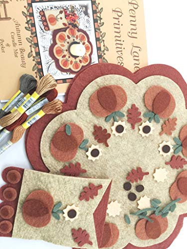 (Autumn Beauty Penny Rug Kit Pre Cut and Pre Washed Applique Kit Pumpkin Pattern)