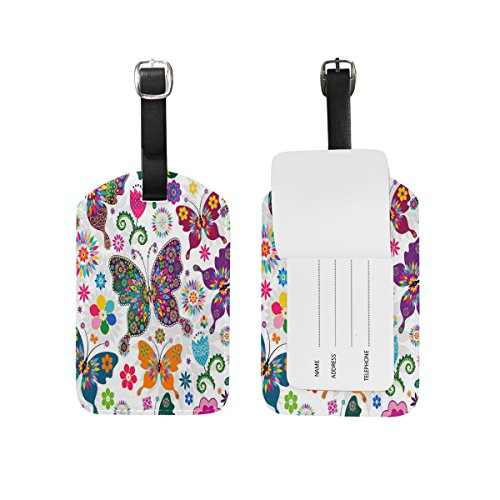 - Use4 Floral Butterfly Luggage Tags Travel ID Bag Tag for Suitcase 1 Piece