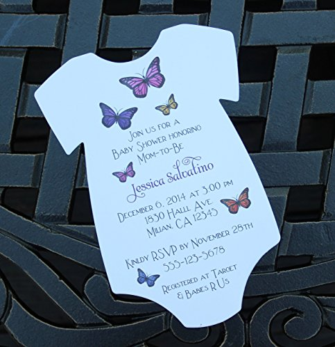 Set of 10 Butterfly Baby Shower Invitations - All Wording Customized - Boy or Girl Baby Shower
