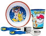 Zak Design ''Pokemon'' Kids Mealtime Set! Includes Bowl, Fork, Spoon & Tumbler Cup! Featuring Pikachu & Sylveon. BPA Free, 4 Pc Set!