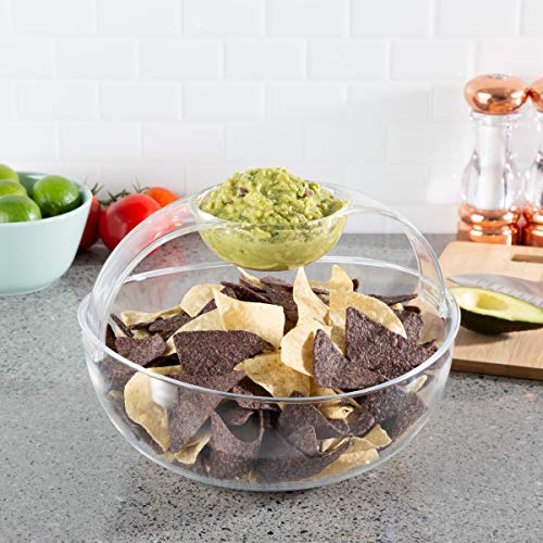 Chip and Dip Bowl-Serving Set for Indoor Outdoor Cocktail Parties and Entertaining-Serveware for Chips, Salsa, Fruit, Dips and More by Classic Cuisine ()