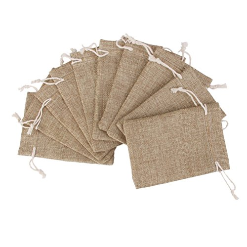Tinksky 10pcs Linen Jute Bag Jewelry Pouch Drawstring Gift Bags, Perfect for Birthday Parties, Wedding, and Christmas (Linen)