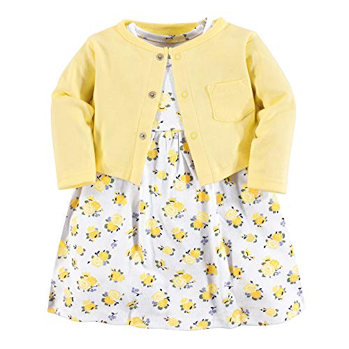 Luvable Friends Baby Girls Dress and Cardigan Set, Yellow Floral, 18-24 Months (24M) ()