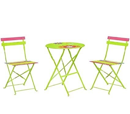 Strange 3 Piece Outdoor Folding Patio Bistro Set Portable Metal Furniture Table And 2 Chairs Sets Perfect For Backyard Balcony Porch Colorful Bralicious Painted Fabric Chair Ideas Braliciousco