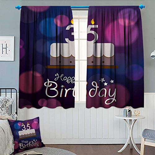 Chaneyhouse 35th Birthday Thermal Insulating Blackout Curtain Ceremony Concept Artistic with Graphic Cake Candles with Color Spots Patterned Drape for Glass Door 63