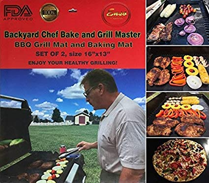 Grill Master Bbq.Backyard Chef Bake And Grill Master Grill Mat Baking Mat Bbq Accessories Heavy Duty Premium Nonstick Bbq Grill Mats Set Of 2 16 X13 Grilling Tools