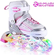 Kuxuan Saya Roller Blades Adjustable for Kids,Girls Inline Skates with All Wheels Light up,Fun Illuminating fo