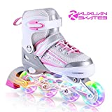 Kuxuan Inline Skates Adjustable for Kids,Girls Skates With All Wheels Light up, Fun Illuminating for Girls and Ladies