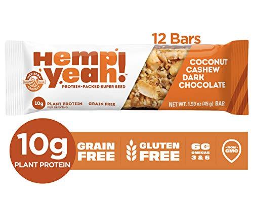 Manitoba Harvest Hemp Yeah! Bars, Coconut Cashew Dark Chocolate (12 Bars), 10g Plant Protein, Grain Free, Gluten Free, 6g Omegas 3&6, Healthy Granola Bar Alternative