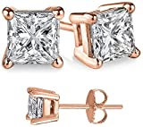 Unisex Rose Gold Overlay 925 Sterling Silver Princess Cubic Zirconia Square White Cz Stud Earrings