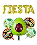 Rose&Wood Fiesta Foil Letter Balloons With 5 Pcs Avocado Fiesta Balloons For Cinco De Mayo Party, Taco Party, Fiesta Party,16'', Gold