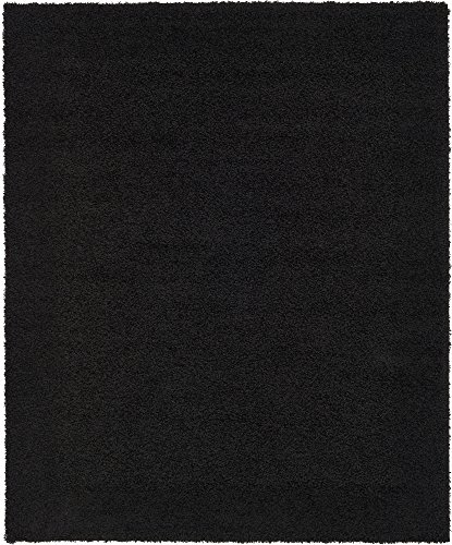 Unique Loom Solo Solid Shag Collection Modern Plush Jet Black Area Rug (8' 0 x 10' 0) (8x10 Black Rug Area)
