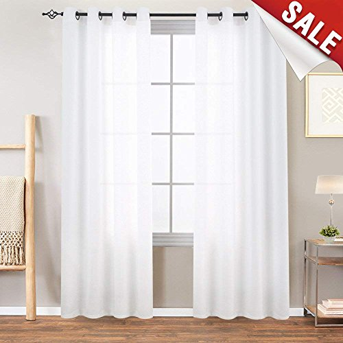 """jinchan White Sheer Curtains for Bedroom Casual Weave Wide Width Linen Look Privacy Semi Sheer White Curtains for Living Room, 1 Pair 72"""""""