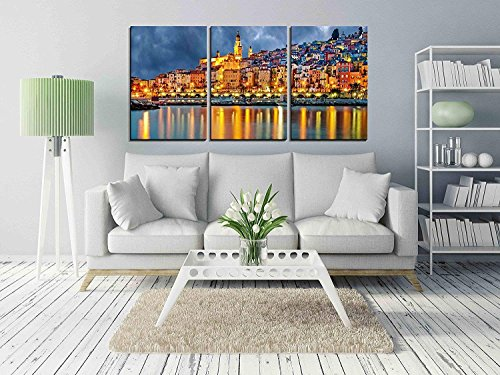 wall26 - 3 Piece Canvas Wall Art - Provence Village Menton After Sunset - Modern Home Decor Stretched and Framed Ready to Hang - 24