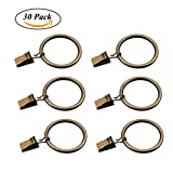 #3: Coideal Set of 30 Bzonze Metal Curtain Rod Rings with Clips / Heavy-duty Curtain Clip Blind Rod Ring Hooks for Drapery, Windows, Bathroom, Home Kitchen (1.5 inch)