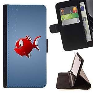 Momo Phone Case / Flip Funda de Cuero Case Cover - Red Piranha Fish - LG OPTIMUS L90