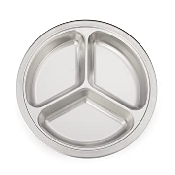 Aspire Wholesale Rectangular Divided Dinner Plates 3 Sections Stainless Steel Tray - Deep Round12  sc 1 st  Amazon.com & Amazon.com | Aspire Wholesale Rectangular Divided Dinner Plates 3 ...