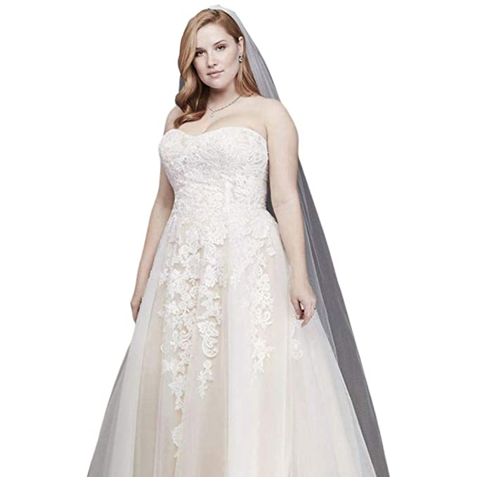 David\'s Bridal Sheer Lace and Tulle Plus Size Wedding Dress ...