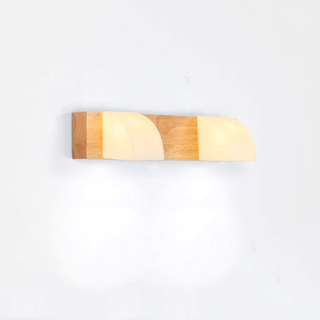 Mirror Lamps Home Nordic Wood Spiegelleuchte im japanischen Stil Holz Waschraum Lampen Massivholz Einfache Spiegel Scheinwerfer LED Spiegel Scheinwerfer (Farbe   37  7.5)
