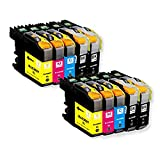 RIGHTINK 10Pack Compatible Ink Cartridges for Brother LC 203XL(4BK 2Y 2M 2C ) Suitable for Printers MFC-J5620DW MFC-J5720DW