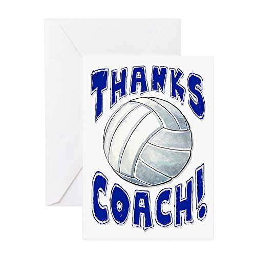 (CafePress Thanks Coach Volleyball Greeting Card, Note Card, Birthday Card, Blank Inside Glossy)