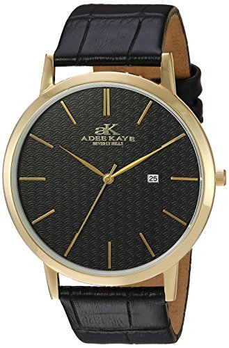 Adee Kaye Men's Quartz Stainless Steel and Leather Casual Watch, Color:Black (Model: ()