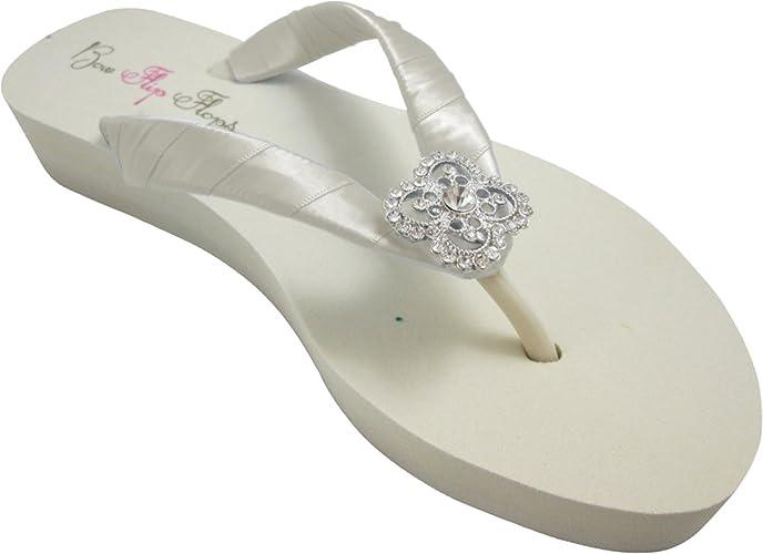 98c5df2d4c443a Amazon.com  Bridal Square Filigree Ivory or White Flip Flops ...