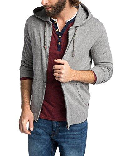 ESPRIT Herren Sweatshirt Jacke mit Kapuze - Regular Fit, Gr. Large, Grau (MEDIUM GREY MELANGE 070)